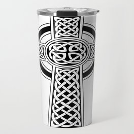 St Patrick's Day Celtic Cross Black and White Travel Mug