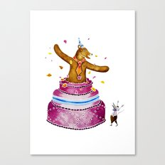 Bob Bear Bursts Out Of The Cake Canvas Print