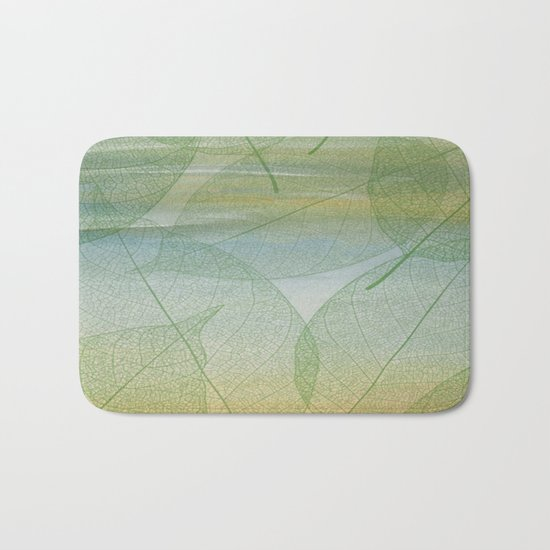 Delicate Painterly Leaves Bath Mat