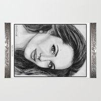 angelina jolie Area & Throw Rugs featuring Angelina Jolie in 2005 by JMcCombie