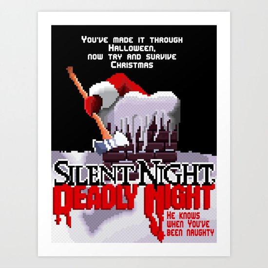 8 Bit Silent Night, Deadly Night Art Print