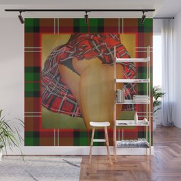 Young Girl Flirting Tease Me in Tartan With Border Wall Mural