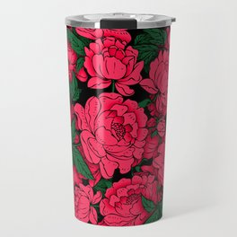 Red Peonies Travel Mug
