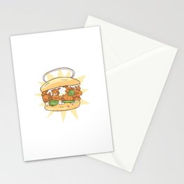 A delicious sandwich with juicy chicken Stationery Cards