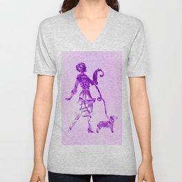 Purple glam lady & dog super plastic fantastic Unisex V-Neck