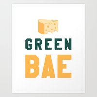 packers Art Prints featuring Green Bae | GB Packers by Deniz C.