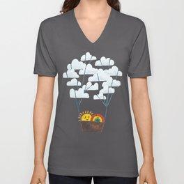Hot cloud balloon - sun and rainbow Unisex V-Neck