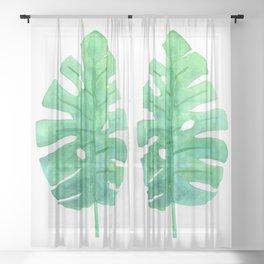 Monstera Lush Green Sheer Curtain