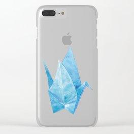 Blue Origami Paper Crane (watercolour) Clear iPhone Case