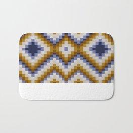 Patchwork pattern - sand and blue Bath Mat