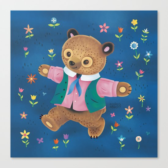 Little Bear and the Flower Garden Canvas Print