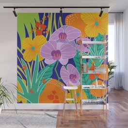 Orchid Fantasy Illustration, Tropical Colourful Orchids Wall Mural