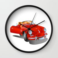 porsche Wall Clocks featuring Porsche by Paola Canti