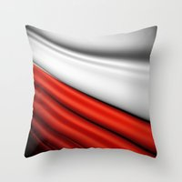 poland Throw Pillows featuring flag of Poland by Lulla