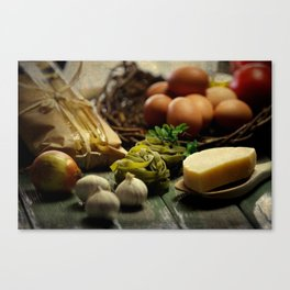 Fresh Pasta and ingredients Canvas Print