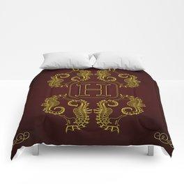 monogram H seahorse Comforters