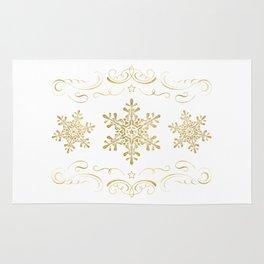 Ornate Golden Snowflakes Rug