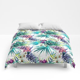Blue Mystery Forest of Flowers and Tendrils Comforters