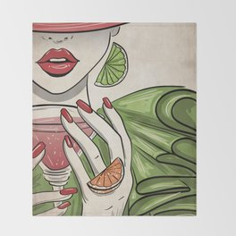 Citrus Martini Please - Kitschy Glam Girl with Her Cocktail Throw Blanket