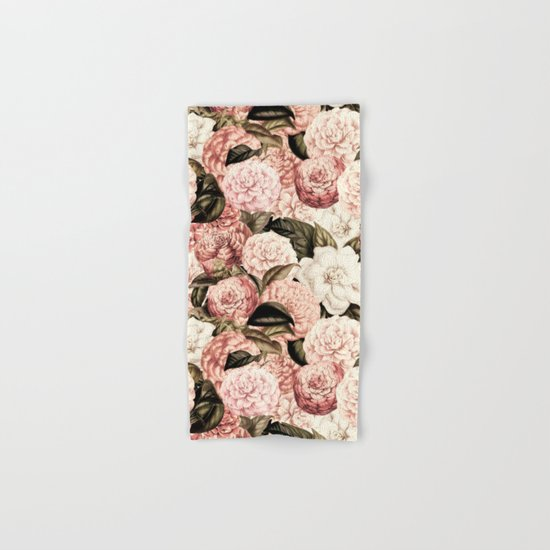 Vintage & Shabby floral camellia flowers watercolor pattern Hand & Bath Towel
