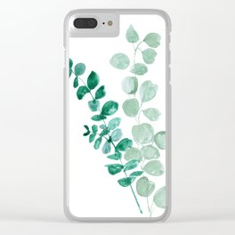 Watercolor eucalyptus leaves Clear iPhone Case