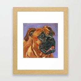 Finnly the Bull Mastiff Dog Portrait Framed Art Print