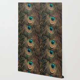 Peacock feathers abstract II Wallpaper
