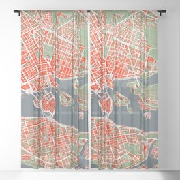 Stockholm city map classic Sheer Curtain