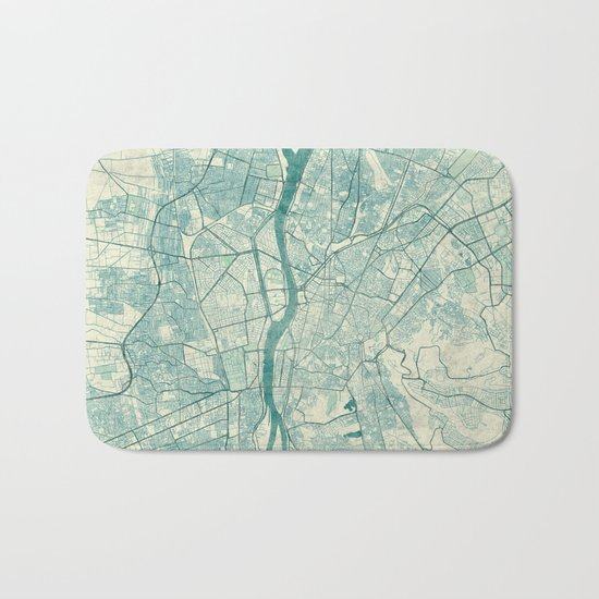 Cairo Map Blue Vintage Bath Mat