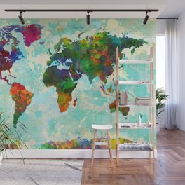 Abstract Map of the World Wall Mural