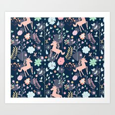 Unicorns in Hesperides Art Print