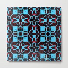 Blue Pink Techno Pattern Metal Print