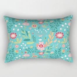 Teal Garden Hearts Rectangular Pillow