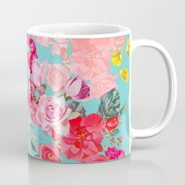 Teal Antique Floral Print Coffee Mug