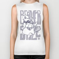 beaver Biker Tanks featuring Beaver' Style by Kiwii Illustration