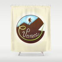 hiking Shower Curtains featuring Vamos (Let's Go) - Hiking by Tanita