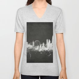 London England Skyline Unisex V-Neck