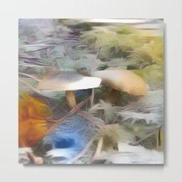 Mushrooms Needles Mosses Metal Print