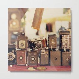 Old Cameras (Vintage and Retro Film Cameras Collection) Metal Print