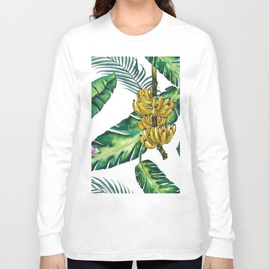 watercolor banana leaves Long Sleeve T-shirt