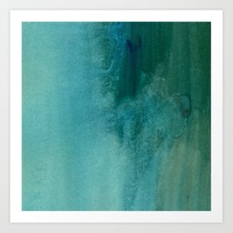 Forest green teal hand painted watercolor ombre Art Print