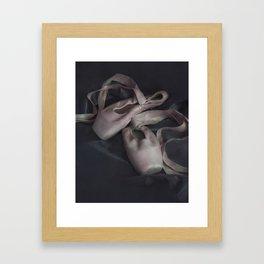 Pastel pink points ballet shoes Framed Art Print