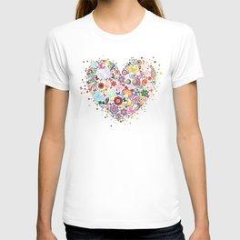 Heart of flowers and butterflies T-shirt
