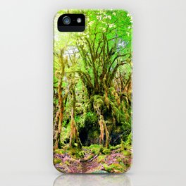 Beautiful moss growing on trees under sunlight in wetland woods iPhone Case