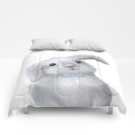 White Rabbit Boy isolated Comforters