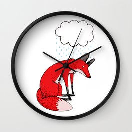 Sad fox Wall Clock