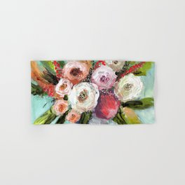 Peach and White Roses Hand & Bath Towel