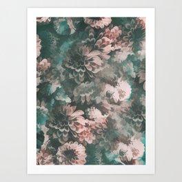 Vintage Flowers pattern 3 Art Print