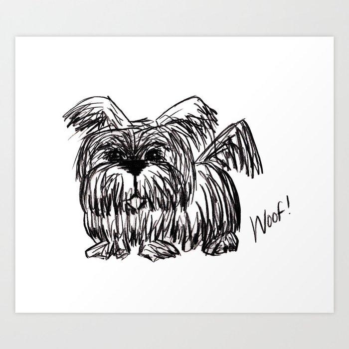 Woof :: A Dust Mop Dog Art Print