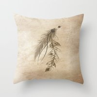 bohemian Throw Pillows featuring Bohemian Feather by LouJah